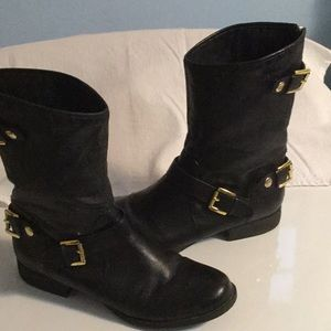 Steve Madden Black leather MOTO buckle zip boot